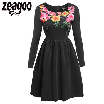 Zeagoo Autumn Winter 1950s Floral Print Vintage Dress Women Backless Party Flowers Swing Dress