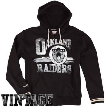 Mitchell & Ness Oakland Raiders Start of the Season Full Zip Hoodie Sweatshirt - Black