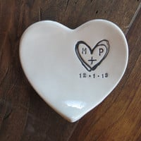 monogram ring dish, engagement ring holder,  custom ceramic  heart shaped jewelry bowl,  Black and White Pottery,  Gift Boxed