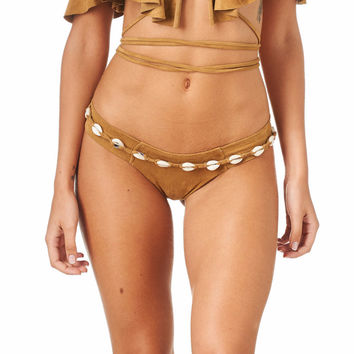 Tan Faux Suede Shells Belt