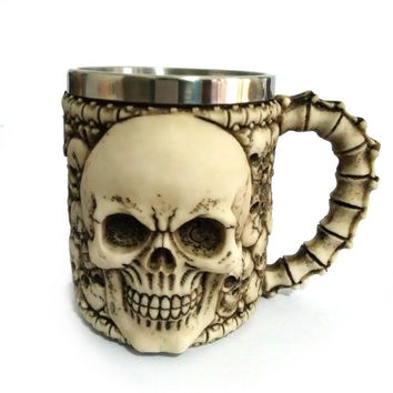 3D Skull Mug Stainless Stell Liner Resin Horror Decor Cup with Handgrip Free Shipping