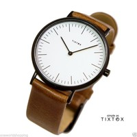 WRISTWATCH 'TIXTOX' BROWN LEATHER STRIP, WHITE DIAL, SS304L CASE