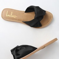 Makenzie Black Satin Slide Sandals