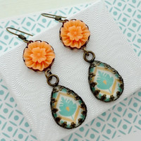 Orange and Turquoise Earrings in Antique Brass. Gift for her under 25 usd