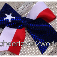 Cheer Bow - Texas with star Cheerleading Dance Ribbon