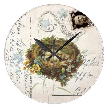 Vintage Bird Nest Italian Postcard Clock