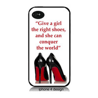 Marilyn Monroe Quote, Give A Girl The Right Shoes Iphone 4 cell phone accessory case