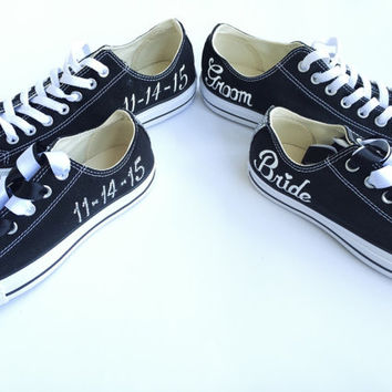 Bride and Groom Custom Painted Converse Wedding Shoes