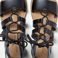 AEO Women's Lace-up Gladiator Sandal (Black)