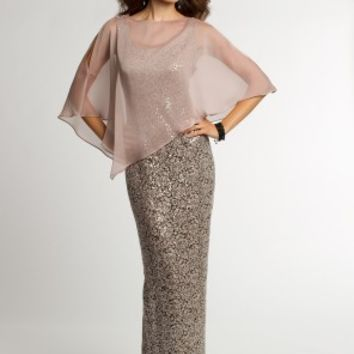 Sequin Lace Dress with Chiffon Capelet