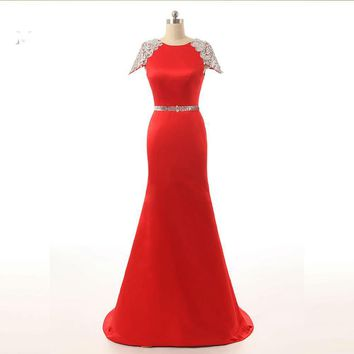 Red Mermaid Cap Sleeve Satin Beaded Sequins Backless Formal Elegant Long Evening Dresses