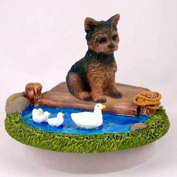 """YORKSHIRE TERRIER PUPPY CUT CANDLE TOPPER TINY ONE """"A DAY ON THE LAKE"""""""