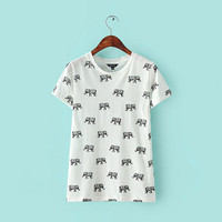 Elephant Totem Printing Vest Bottoming Round Neck T-shirt