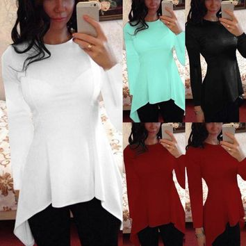 ICIKON3 9 Colors CELMIA Plus Size 2018 Autumn Winter  Women Blouse Blusas Casual Long Short Sleeve Tops Asymmetric Tunic Peplum Shirts