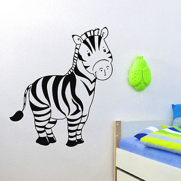 WALL DECAL VINYL STICKER ANIMAL ZEBRA BABY ROOM NURSERY DECOR SB871