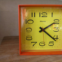 Space Age Mod Giant Wind Up Alarm Clock by Wedgefield, West Germany, Orange and Yellow