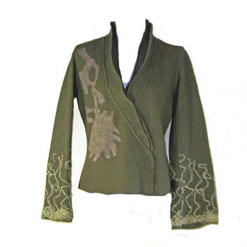 BOILED WOOL JACKET - Fine boiled wool Jacket  with In-Woven Details