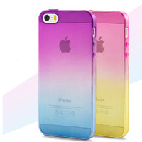 Hot sale Transparent  Skin Protective Phone Cases  for iphone 5 Gradient TPU Clear Back Cover For Apple Iphone 5 5S