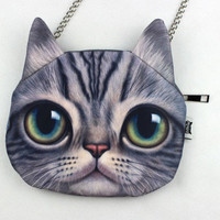 3D Cat Pattern Cross Body Chain Bag