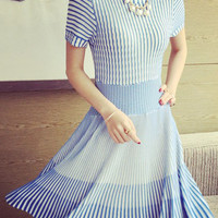 Blue Stripe Knitted Midi Dress