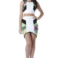(amx) Abstract neon graphic bodycon set