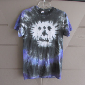 Halloween Black and Purple Skull Unisex Tie Dyed Tee Shirt