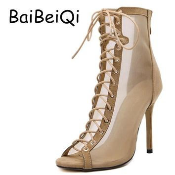 Summer Style Vogue Sexy Mesh Gladiator High Heels Sandals Women Pumps Cross Straps Ope