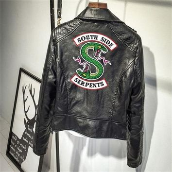 Riverdale PU Leather Jackets Women Southside Serpents Moto Biker Coat Cosplay