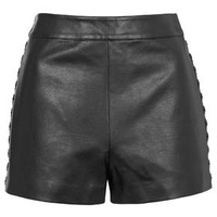 PETITE PU Whipstitch Shorts - Black