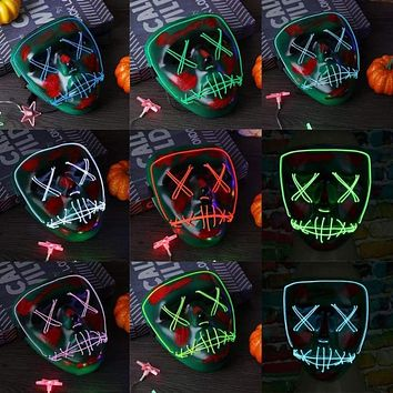 Halloween Mask Cold Light Fluorescent LED Masks Festival Glowing Luminous Party Masks Masquerade Cosplay Halloween Decoration Macchar Cosplay Catalogue