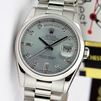 Rolex Day Date President Platinum Glacier Blue Diamond Dial 118206 - WATCH CHEST