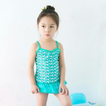 Childrens Swimsuit Cute New Blue Lovely Baby Kids  Quality Girls Swimwear Teenagers Two-pieces Ocean Fish Infant Bath Suit Children Beachwear KO_25_2