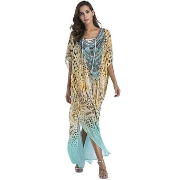 Plus size Chiffon fashion print Bohemian long maxi dress boho clothing 2018 summer sundress Beach Sarongs large size robes women