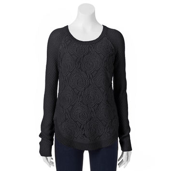 Cloud Chaser Juniors' Raglan Floral Lace Overlay Sweater