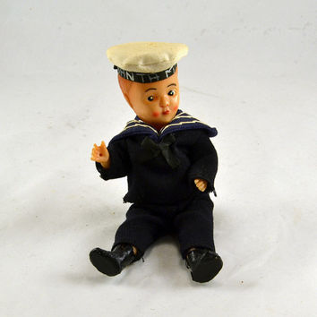 Celluloid Sailor Doll - Cruise Ship Souvenir - Sleepy Sleep Eyes - Santa Maria Hat - Vintage Doll 1920s