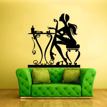 rvz924 Wall Vinyl Sticker Decals Decor Haircut Salon Scissors Manicure Table