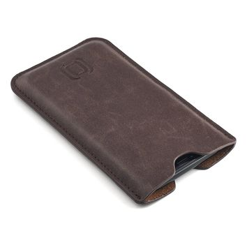 Synthetic Leather iPhone X Sleeve - Slightly Padded Microfiber Lined Executive Professional Synthetic Leather Case by Dockem (Vintage Brown)