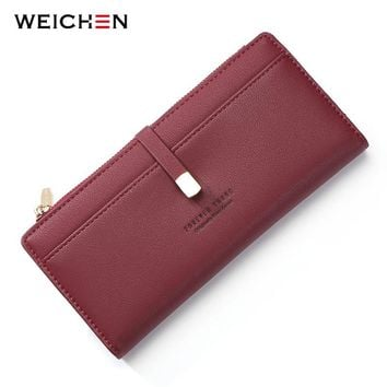 WEICHEN Wristband Women Wallets Red Coin Cell Phone Pocket Ladies Clasp Clutch Purses Female Wallet Carteras High Quality
