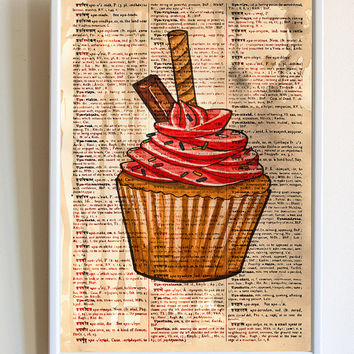 Cupcake Print Kitchen Poster Baking Baker Sweeties Dictionary Paper Wall Art Decor
