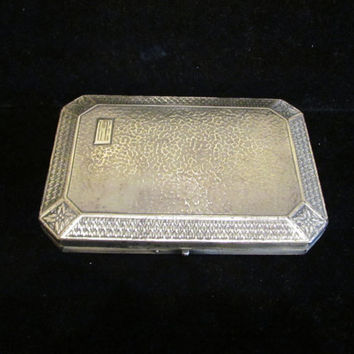 Circa 1900's Silver Vanity Box Compact Perfume Bottle Set Antique Box Mirror Compact Powder Compact Victorian Vanity Set Dresser Accessory