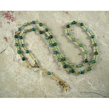 Sobek Prayer Bead Necklace in Moss Agate: Egyptian God of Fertility, Protection, Patron of Soldiers