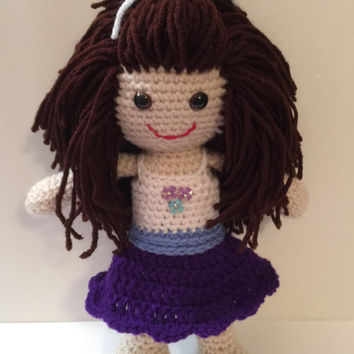 """Hand Crocheted Doll - 12"""" Tall - With cute dress and hair"""