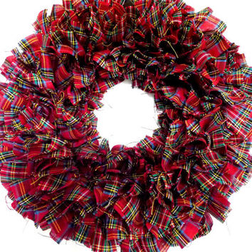 Small Rag Wreath Red Tartan Plaid Homespun Fabric Christmas Winter