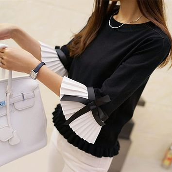 Women Sweater Chiffon Flare Sleeve Bow