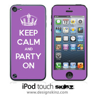 Keep Calm & Party On iPod Touch 5th Generation Skin FREE SHIPPING