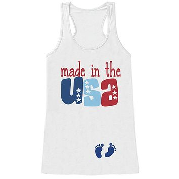 Custom Party Shop Women's Made in the USA 4th of July White Tank Top