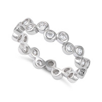 Sterling Silver Cz Stackable Bubbles Eternity Ring