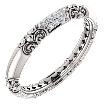 14K White Gold Diamond Sculptural Inspired Ring
