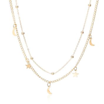 X7 Hot Fashion Gold Color Multilayer Moon Star Statement Necklaces Hot Selling Choker Pendants Necklaces For Women Bijoux