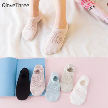 Ladies New Fashion Cotton socks Diamond grid mesh sokken Women Girls breathable invisible socks Simple sweet hollow sox 35-39